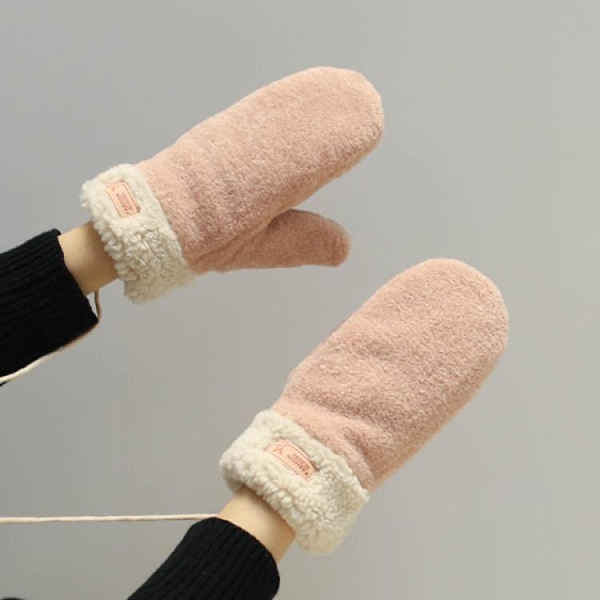 手套 日系韓版春天保暖加絨加厚掛脖帶繩子學生手套可愛少女騎車防寒【快速出貨八折搶購】