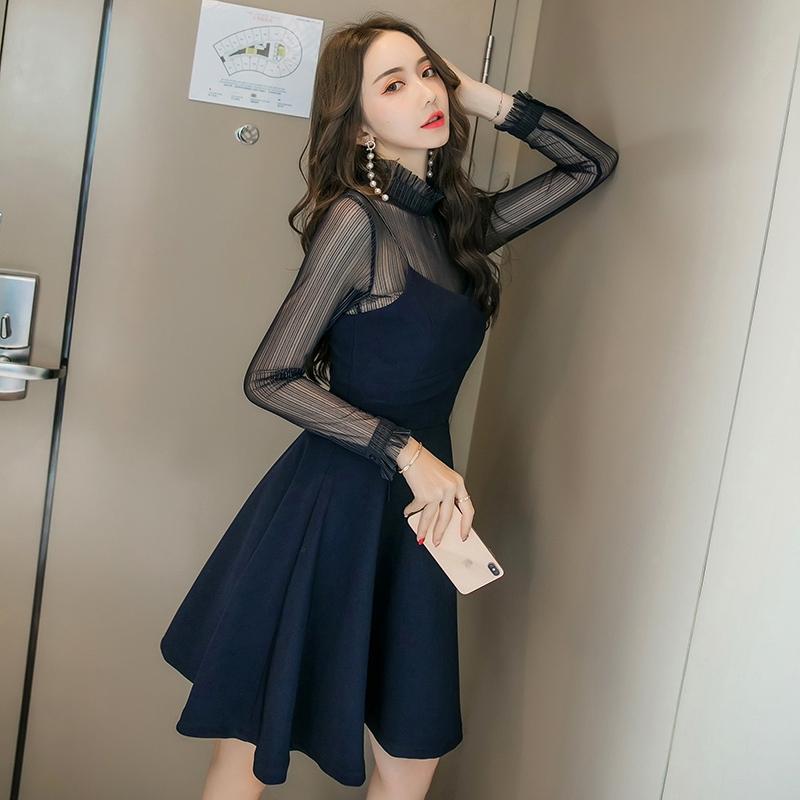 黑色顯瘦洋裝2019新款女裝氣質露背透視網紗假兩件修身長袖吊帶連衣裙女