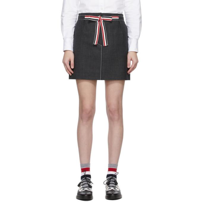 Thom Browne 灰色 Sack Tie Waist 短裙