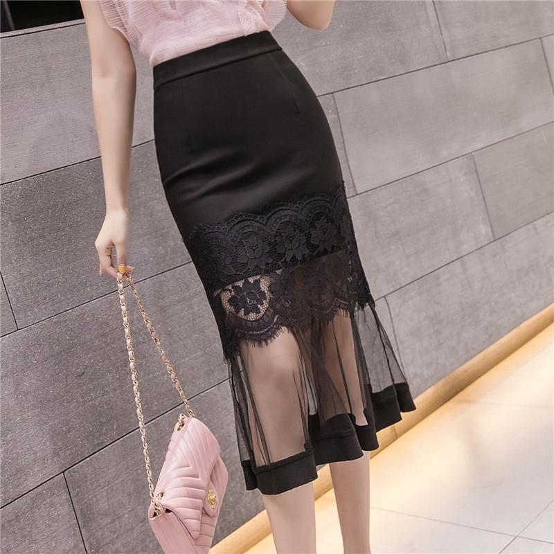 透視網紗蕾絲拼接高腰魚尾裙修身包臀過膝裙子半身裙韓係