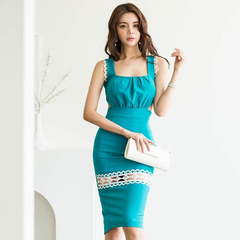 正韓洋裝後背露腰背心洋裝及膝禮服女生夏天新款蕾絲拼接顯身材尺碼洋裝