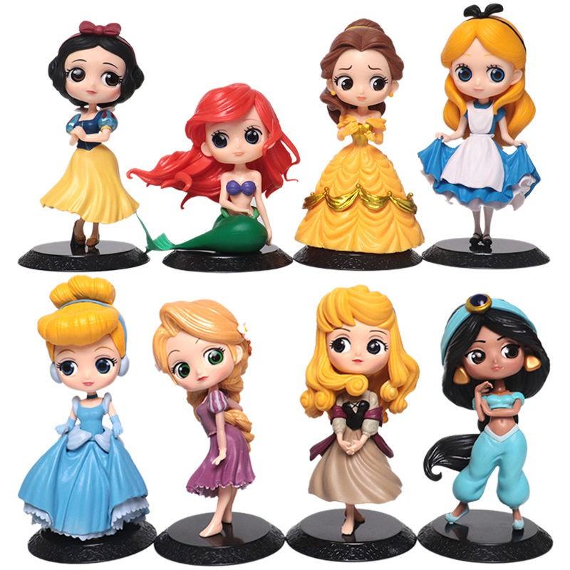 現貨迪士尼Q版愛麗絲美人魚灰姑娘貝兒長發白雪公主擺件模型手辦禮物