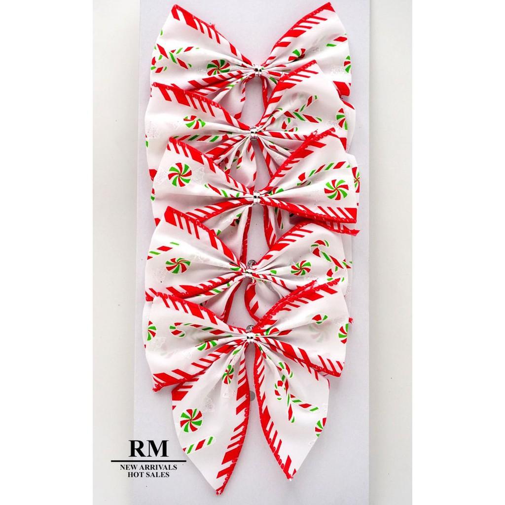 BW602-14聖誕節紅綠棒棒糖蝴蝶結