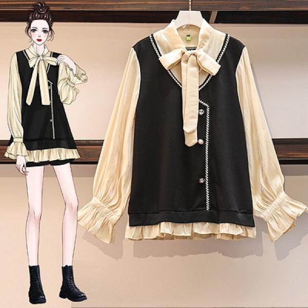 復古拼接假兩件襯衫大碼寬松氣質系帶襯衣女裝9983M037A依佳衣