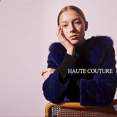 Haute Couture 高定系 頂級兔毛✕狐狸毛領長版造型大衣外套-靛紫