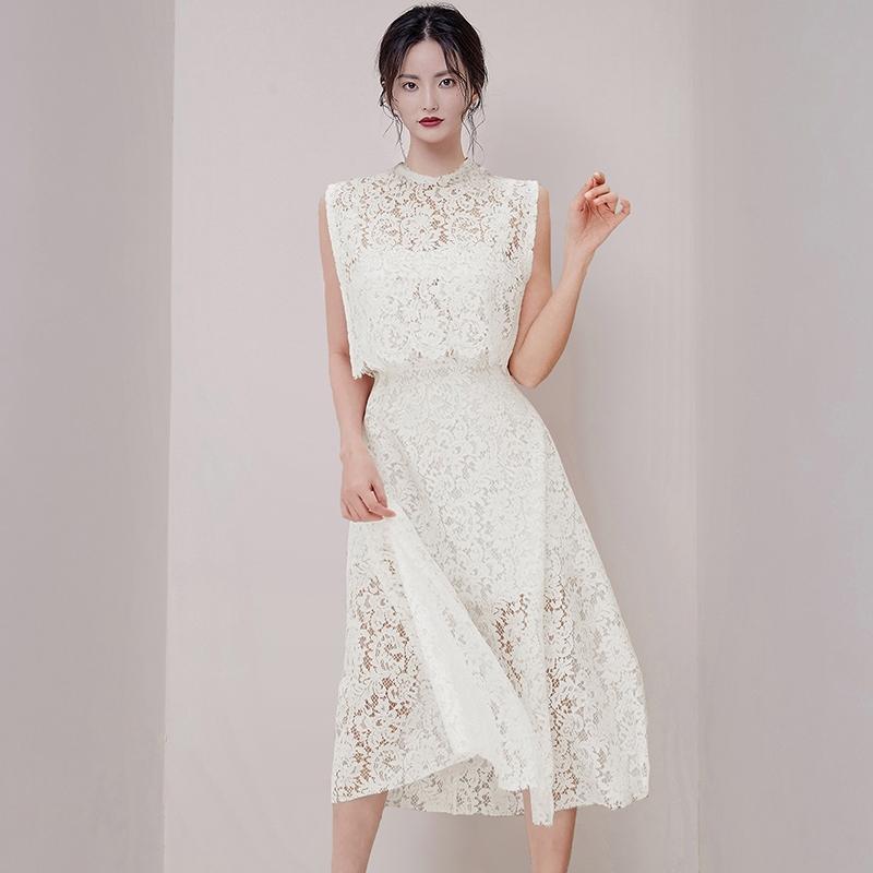 優雅透視兩件式洋裝蕾絲連身裙甜美上班族穿搭