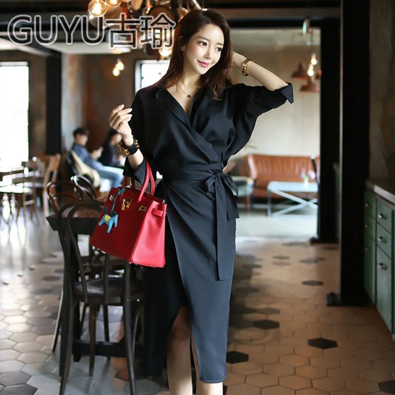 V領長袖黑色正韓洋裝蝙蝠袖過膝長裙綁帶洋裝氣質包臀連身裙