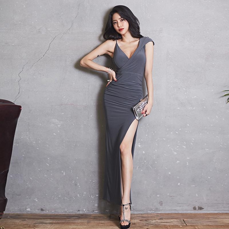 性感開叉洋裝長洋露大腿宴會禮服及踝長裙顯身材晚禮服
