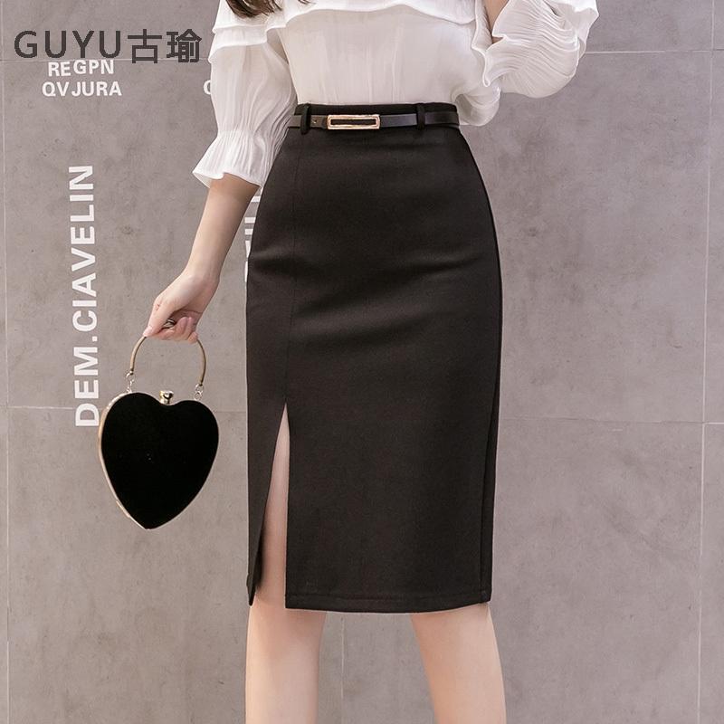 大尺碼 OL職業裙高腰包臀開叉及膝半身裙 office lady女生穿搭一步裙