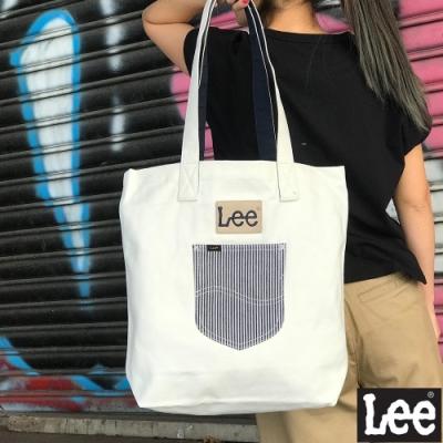Lee 條紋口袋 托特包 白色