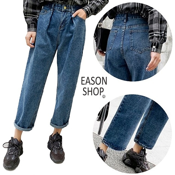 EASON SHOP(GW6324)實拍復古水洗丹寧壓線設計多口袋可捲邊收腹牛仔褲女高腰長褲休閒褲直筒褲九分褲