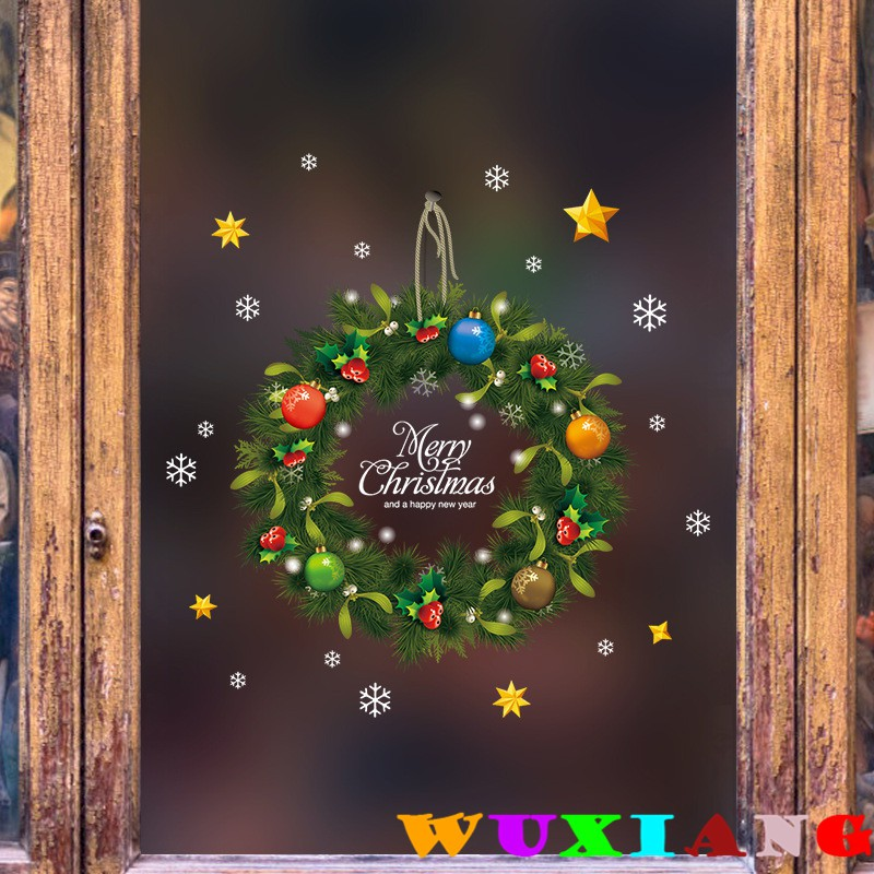 【五象設計】聖誕牆貼215 DIY 壁貼 雙面聖誕藤條環門貼 櫥窗店面 玻璃門窗牆貼 客廳裝潢
