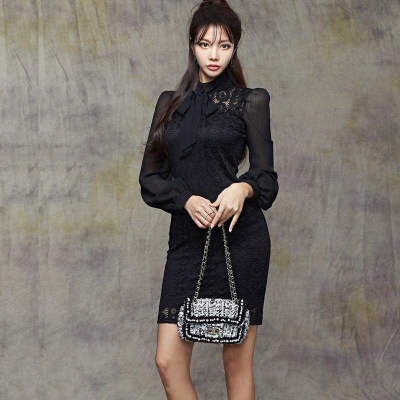 黑色長袖蕾絲洋裝蝴蝶結領合身窄裙洋裝氣質包臀連衣裙