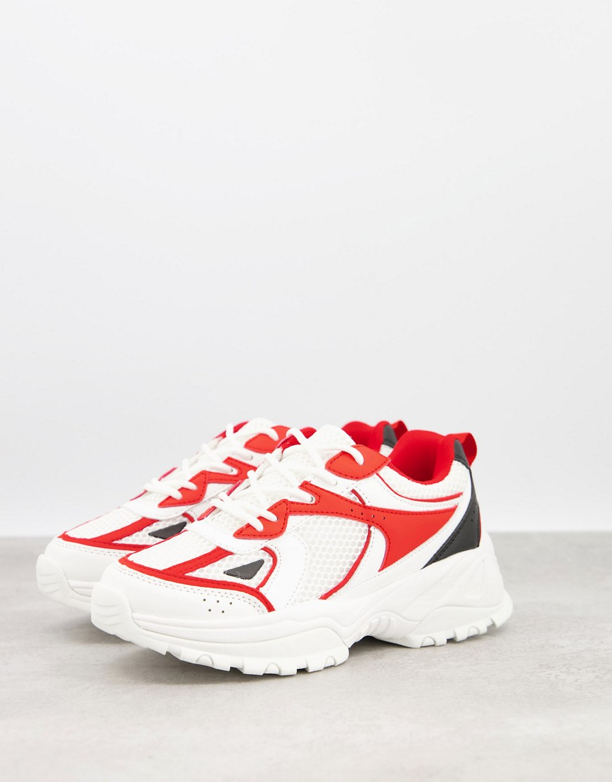 ASOS DESIGN Dorri trainers with mesh in white & red