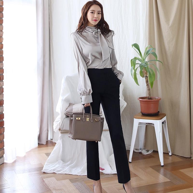 OL套裝長袖灰色正韓上衣素色襯衫+高腰黑色九分褲鉛筆褲兩件式套裝office lady女生上班族套裝