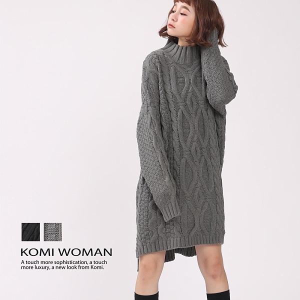 【南紡購物中心】KOMI-粗針手鉤感麻花辮毛線針織洋裝‧二色