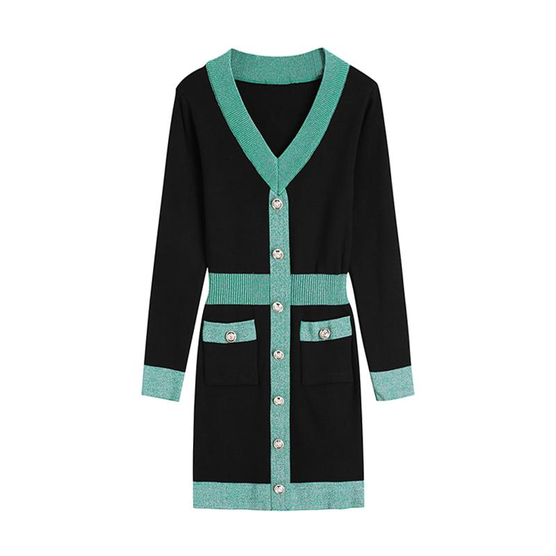 嬌小洋裝撞色長袖單排扣彈力緊身針織洋裝短板連身裙