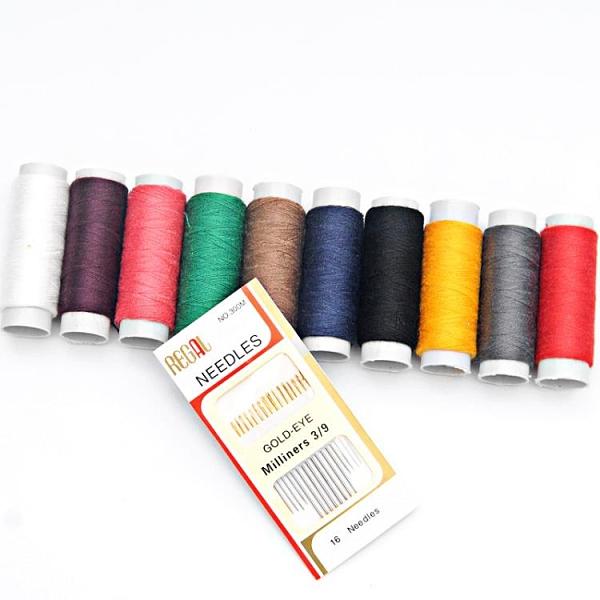縫紉線 家用402滌綸縫紉線白線小卷彩色縫衣服細線黑色手工手縫針線套裝【快速出貨八折搶購】