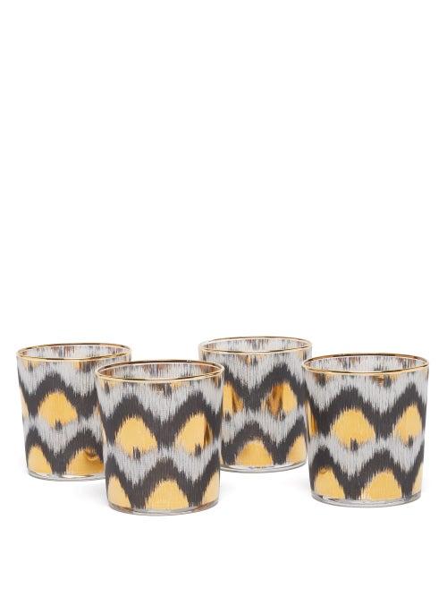 Les Ottomans - Set Of Four Ikat-print Tumbler Glasses - Black Multi