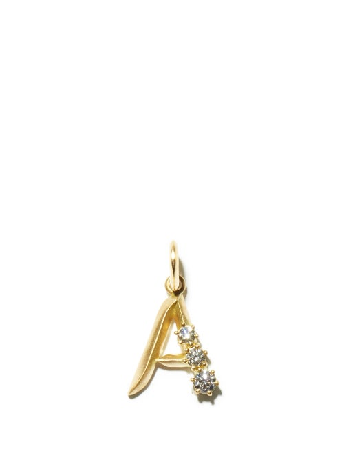Jade Trau - Diamond & 18kt Gold Initial Charm (a-m) - Womens - Yellow Gold