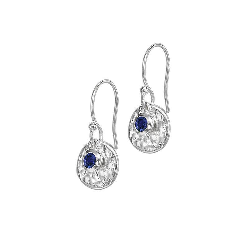 Hammered Disc & Blue Sapphire Twinkle Drop Earrings