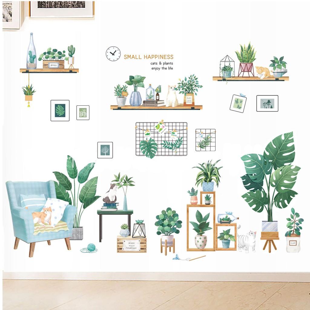 【五象設計】壁貼 清新植物 綠葉 房間裝飾 墻貼