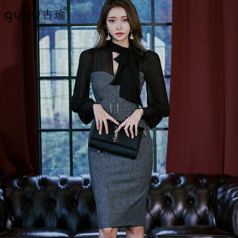 GUYU古瑜御姐冷淡風正韓洋裝顯身材長袖及膝洋裝上班族女生合身連身洋裝
