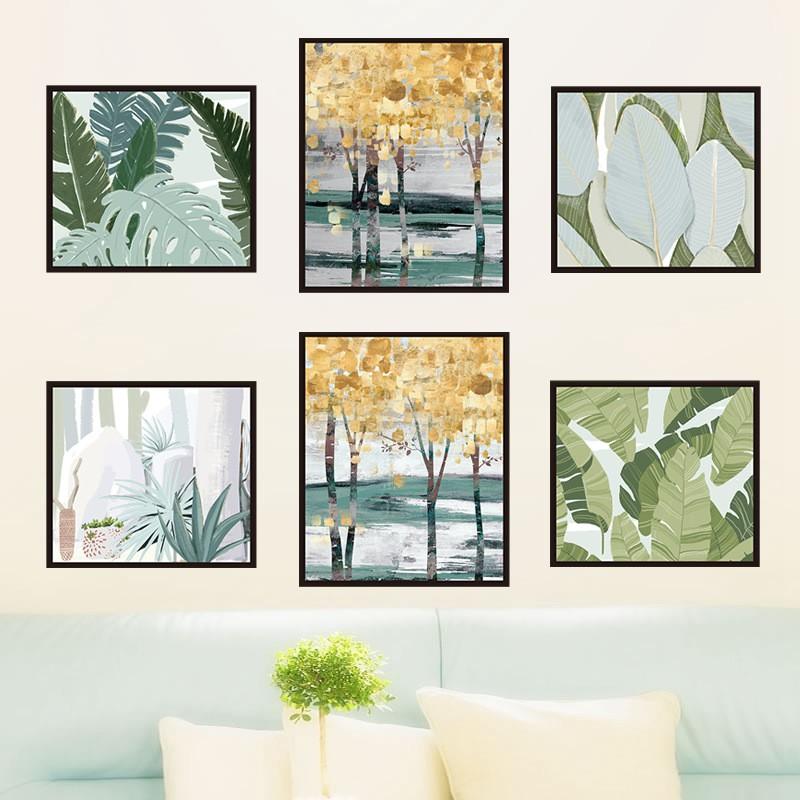 【五象設計】牆貼 裝飾畫 綠葉 多肉 客廳 格調 臥室宿舍 床頭貼紙 簡約現代 牆壁自粘畫