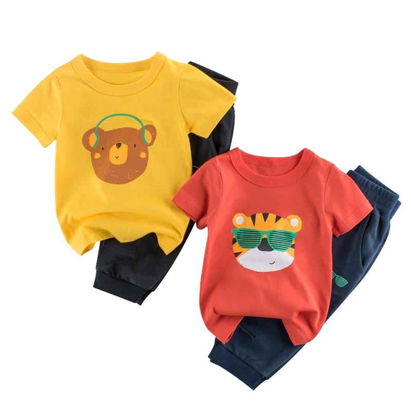 27品牌童裝套裝短袖潮童夏季童裝新款2020兒童短袖套裝 男童七分褲兩件套ins風 卡通圖案潮童運動休閒純棉材質