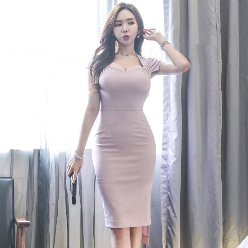 正韓性感低胸洋裝前短後長宴會禮服2019夏季新款韓版女裝氣質V領簡潔時尚不規則修身包臀連衣裙