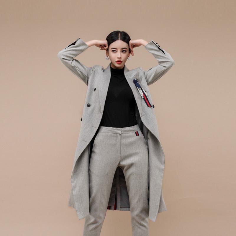 女生秋冬長版西裝外套及膝大衣韓國女生穿搭長外套風衣