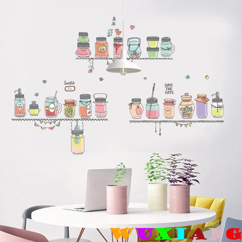 【五象設計】雙12新款 家居餐廳自粘牆貼 PVC可移除牆貼 瓶子裝潢貼畫
