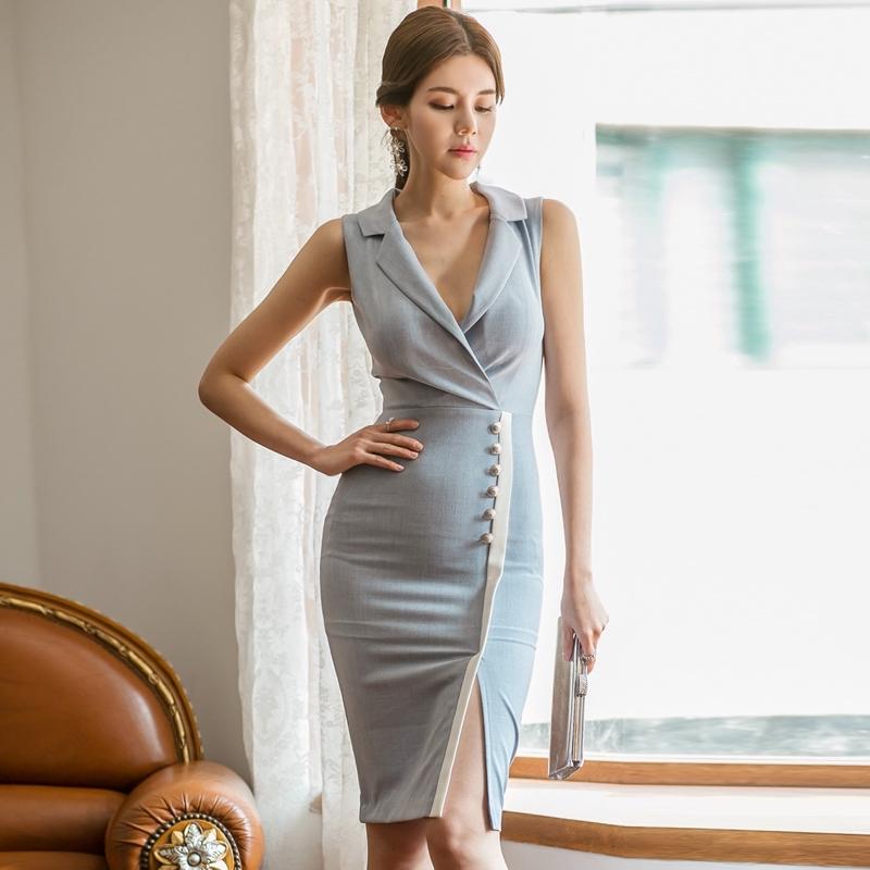 office lady女生性感西裝領正韓洋裝及膝開叉洋裝包臀連身裙外出宴會小禮服