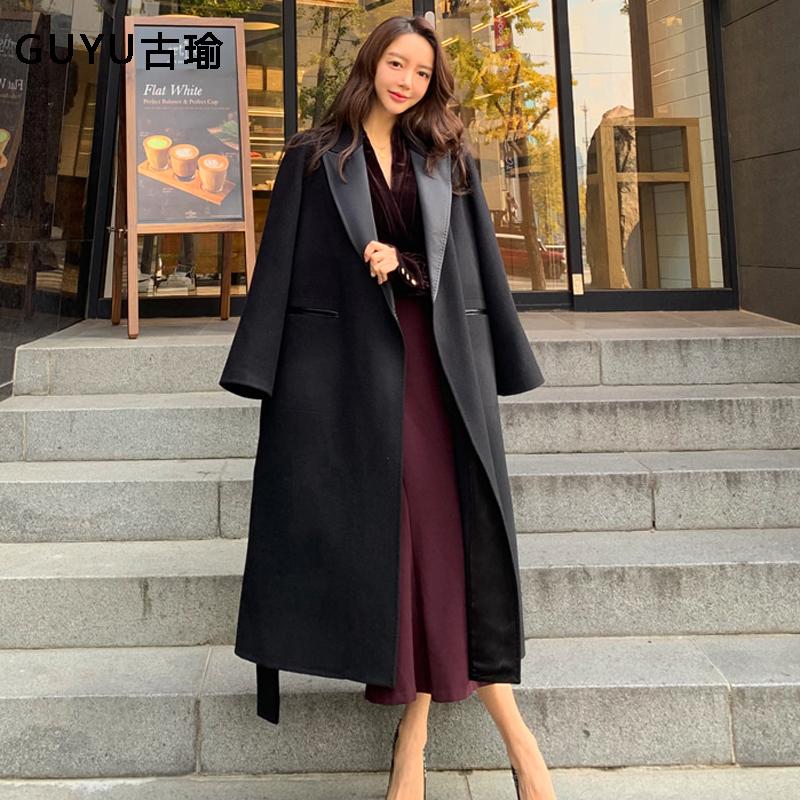 女生秋冬長版毛呢大衣韓版綁帶長袖呢子長大衣過膝長外套