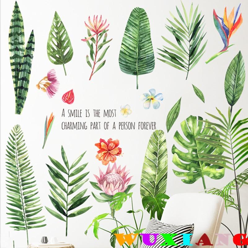 【五象設計】壁貼 牆貼綠葉 北歐 客廳 臥室 宿舍 自粘防水貼紙 房門 植物花卉 牆壁 裝飾貼畫