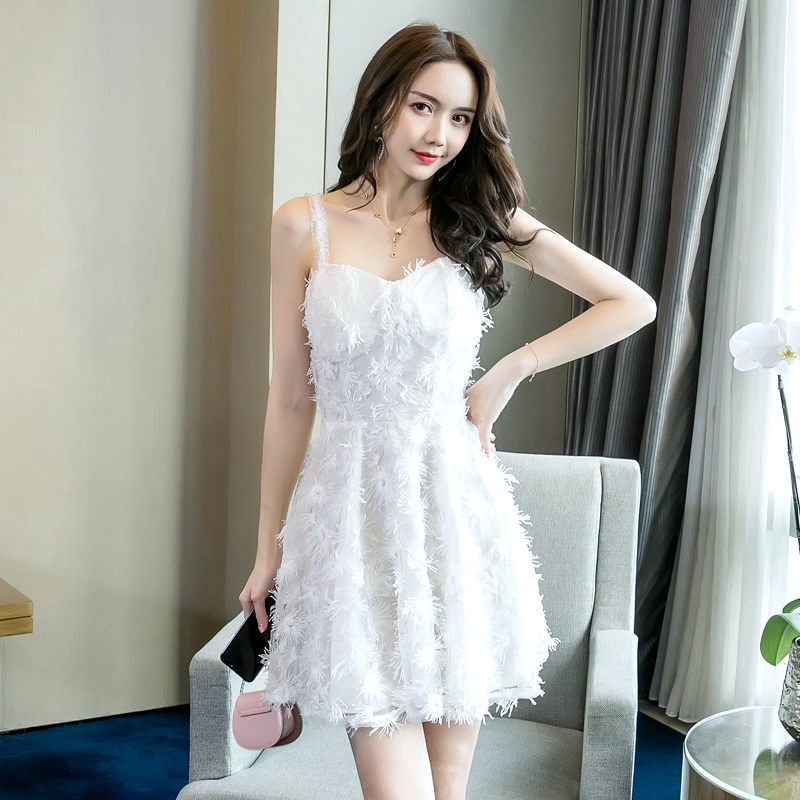 立體流蘇細肩帶洋裝a字裙短洋白色宴會小禮服生日聚會party洋裝