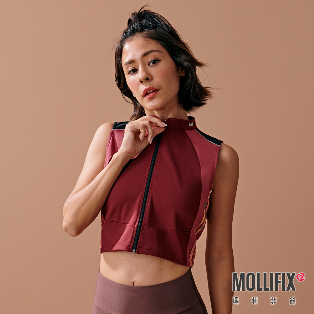 MOLLIFIX 瑪莉菲絲 撞色短版拉鍊訓練背心 (紅棕)