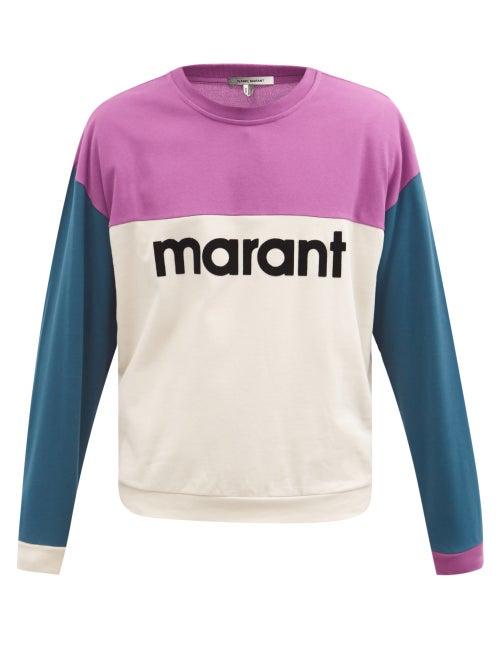 Isabel Marant - Aftone Flocked-logo Cotton-piqué Sweatshirt - Mens - Purple
