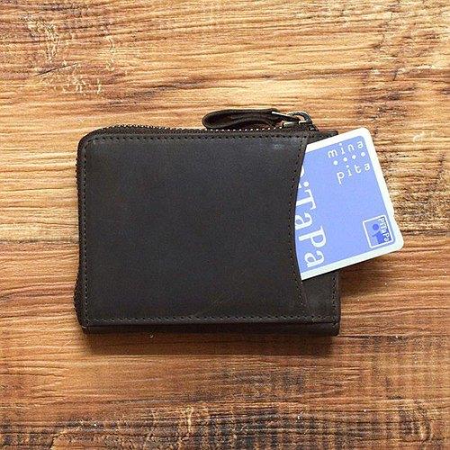可以輸入名稱緊湊型迷你錢包一種錢包,可以使事物井井有條並不斷增長。全皮革L形緊固件棕色HAW015