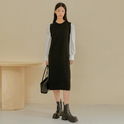 連身裙 假兩件撞色拼接長袖洋裝PV9920-創翊韓都