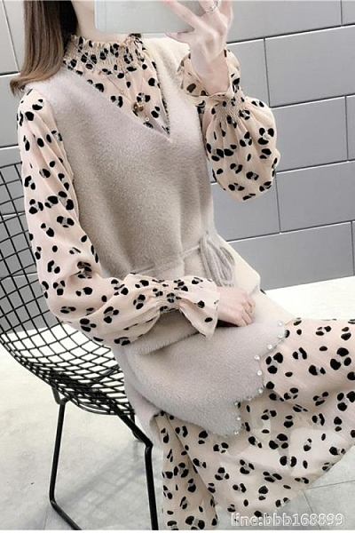 毛衣套装 毛衣馬甲裙子兩件套洋氣新款女炸街秋裝高端減齡氣質職業套裝 瑪麗蘇