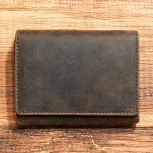 全皮製成的簡單優質雙向錢包[棕色]您可以在上面貼上自己的名字