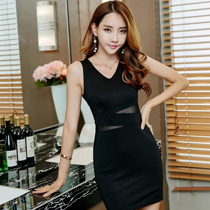 V領無袖透視網紗拼接露腰性感黑色洋裝包臀連身裙正韓女生衣著外出夜店短版洋裝
