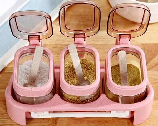 調料盒 玻璃調料盒鹽糖罐子調料盒廚房用品味精瓶罐油壺調味瓶罐家用套裝【快速出貨八折下殺】