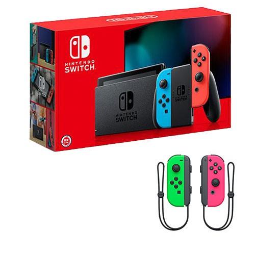 Switch 2019款主機-紅藍手把+Joy-Con左右手把 - 電光綠、電光粉紅+螢幕保護貼【愛買】