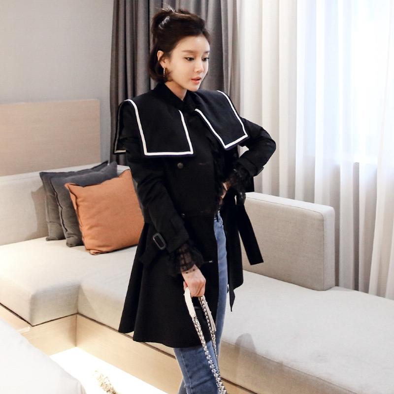 立領長袖披肩領黑色顯瘦中長外套秋冬女生外套裝韓版上衣