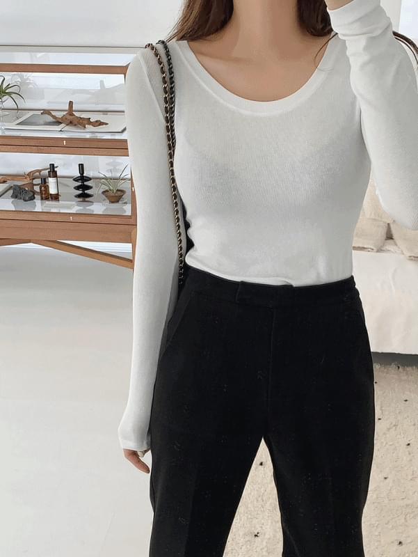 韓國空運 - Golgi U neck T-shirt 長袖上衣