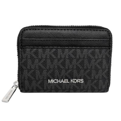MICHAEL KORS鐳射字印拉鍊雙層卡夾零錢包(灰黑)