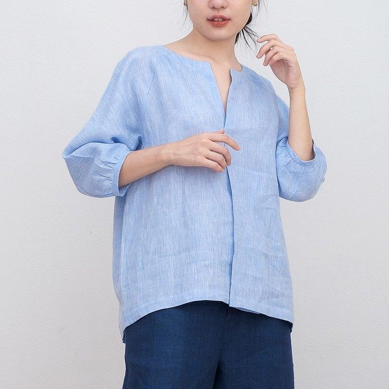 藍色休閒日式亞麻上衣