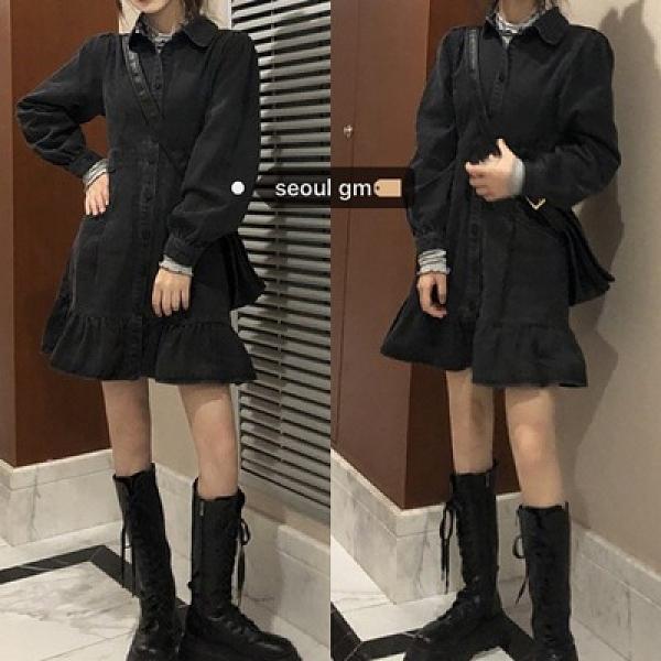洋裝 SUGAR實拍~韓風chic秋冬新款復古時髦甜酷荷葉邊收腰牛仔連衣裙女 歐歐